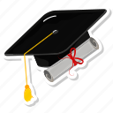 books, cap, graduate, graduation icon