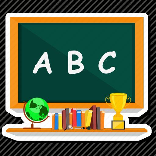 abc, blackboard, book, cup, education, green, school icon