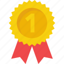 award badge, first place, first position, positon badge, reward, ribbon badge, winner icon icon