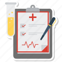checklist, file, laboratory, list, medical report, pen, tube icon