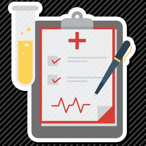 checklist, file, laboratory, list, medical report, pen, tube icon