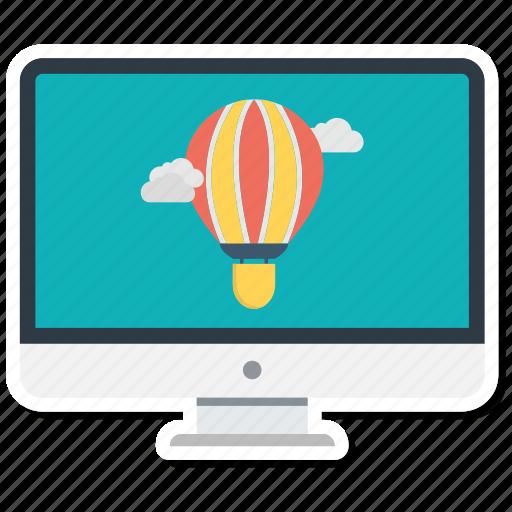 air balloon, display, monitor, screen, tv icon