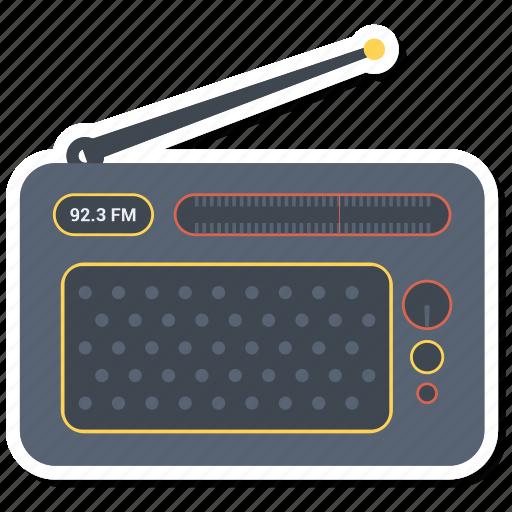 antenna, dial, radio, retro icon
