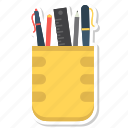 pen pot, pencil, pencil box, pencil holder icon