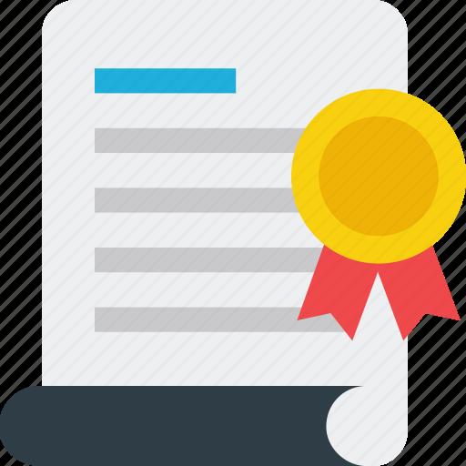 achievement, addendum, badge, certificate, certification, document, letter icon icon