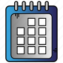 calender, education, learning, study, timetable icon