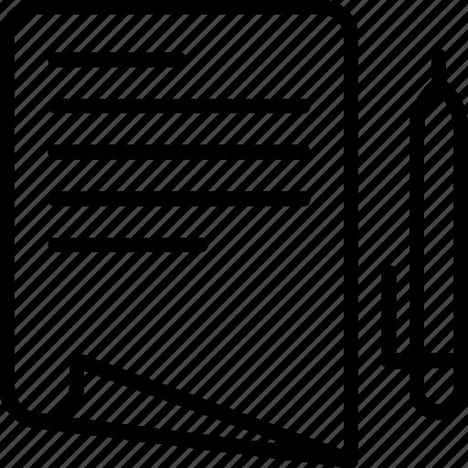 content, edition, fill, paper, pen, text, write icon icon