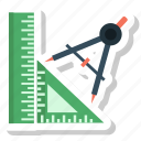 compass, design, graphic, maths, protracter, ruler, tool icon
