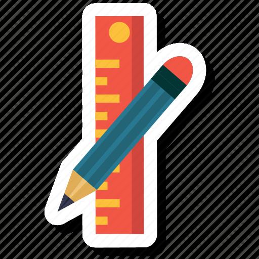 measure, pencil, pencil and ruler, ruler, school icon