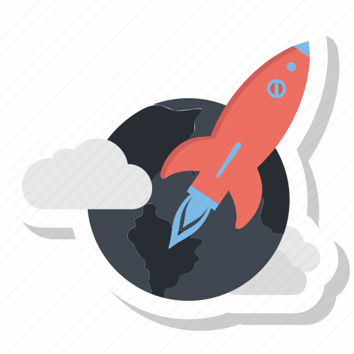 cloud, earth, mission, promotion, rocket, space icon