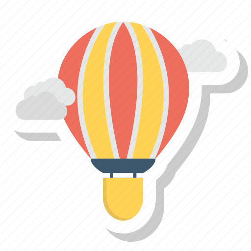 air balloon, balloon, cloud, fly, travel icon