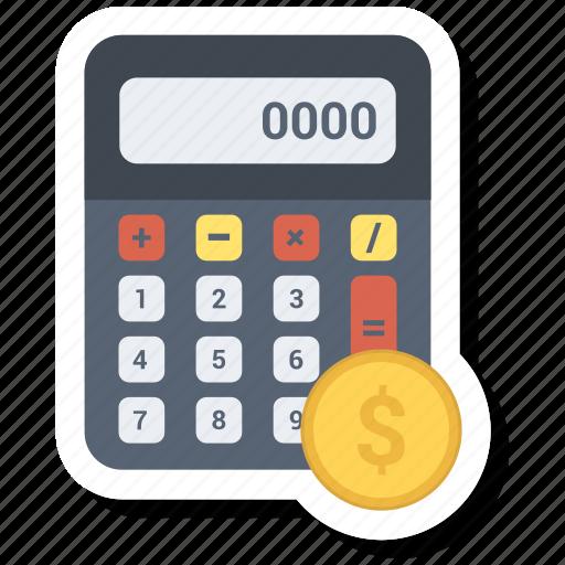 calc, calculate, calculator, coin, dollar, math, technology icon
