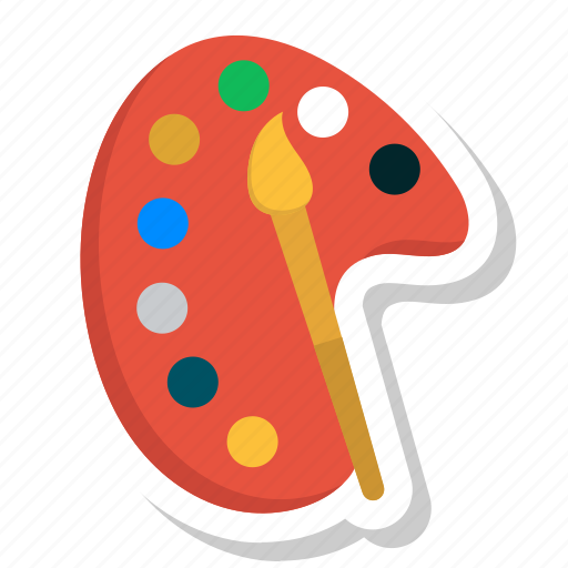 brush, colour, drawing, paint, plate, sketch, tool icon