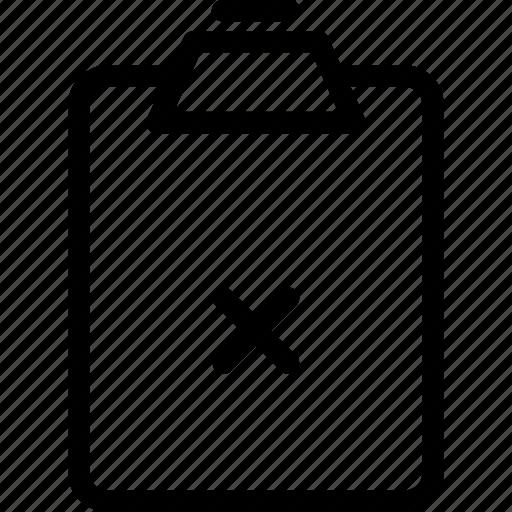 clipboard, delete note, document, list, note, remove note, report icon