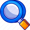 bukeicon, education, glass, magnifying, science, search icon