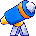 bukeicon, education, lesson, stars, telescope icon