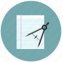 compass, learning, math, paper, study, tools icon