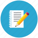 communication, essential, interaction, notes, pen, writing icon