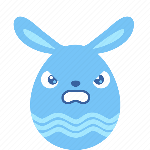 angry, bunny, easter, egg, emoji, emotion, furious icon