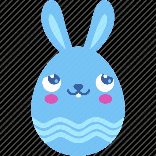 blush, bunny, easter, emoji, emotion, rabbit icon