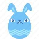 angry, bunny, crabby, egg, emoji, emotion, rabbit icon
