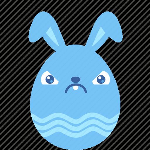 angry, bunny, crabby, egg, emoji, emotion, rabbit icon