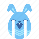 bunny, cry, easter, egg, emoji, sad, unhappy icon