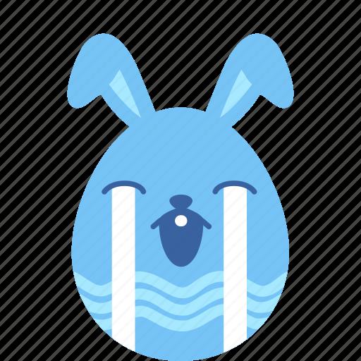bunny, cry, easter, egg, emoji, sad, unhappy icon