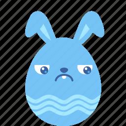 bunny, easter, egg, emoji, guilty, rabbit, sad icon