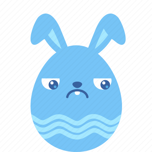 bunny, easter, egg, emoji, guilty, rabbit, sad icon