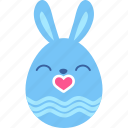 bunny, easter, egg, emoji, kiss, love, rabbit icon