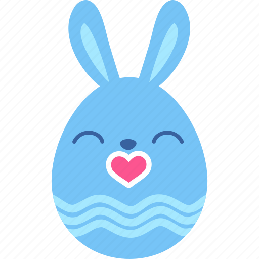 bunny, easter, egg, emoji, kiss, love, rabbit icon