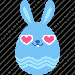 bunny, easter, egg, emoji, emotion, heart, love icon