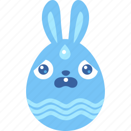 blue, bunny, easter, egg, rabbit, scared, wet icon