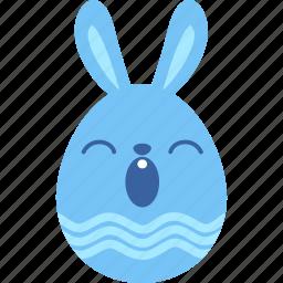 bunny, easter, egg, emoji, emotion, rabbit, sleepy icon