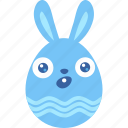bunny, easter, egg, emoji, rabbit, surprised, wonder icon
