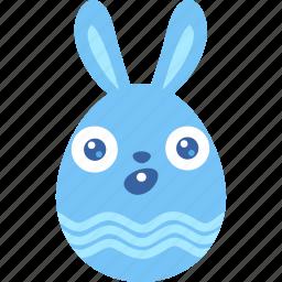 bunny, easter, egg, emoji, rabbit, surprised, wonder icon