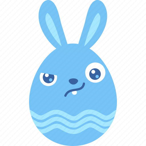 bunny, easter, egg, emoji, emotion, rabbit, wary icon