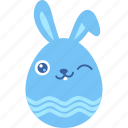 bunny, easter, egg, emoji, emotion, rabbit, wink icon