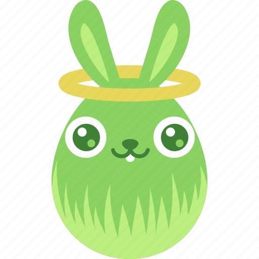 angel, bunny, easter, egg, emoji, emotion, rabbit icon