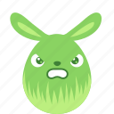angry, bunny, easter, egg, emoji, emotion, rabbit icon