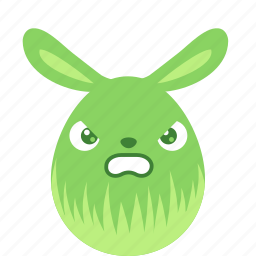 angry, bunny, easter, egg, emoji, emotion, rabbit icon