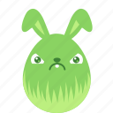 bunny, crabby, easter, egg, emoji, emotion, rabbit icon