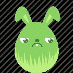 bunny, easter, egg, emoji, emotion, guilty, rabbit icon