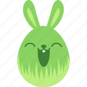 bunny, easter, egg, emoji, emotion, happy, rabbit icon