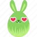 bunny, easter, egg, emoji, emotion, love, rabbit icon