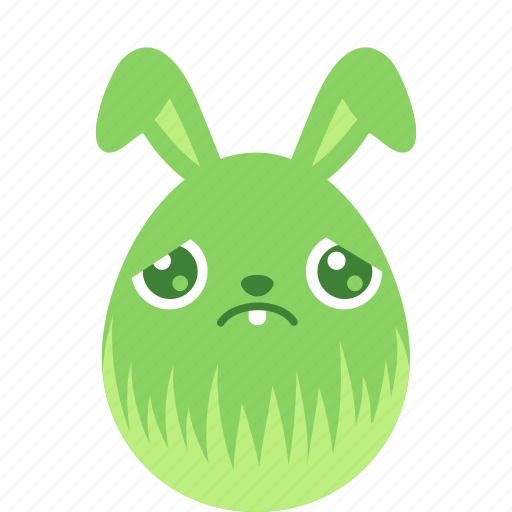 bunny, easter, egg, emoji, emotion, rabbit, sad icon