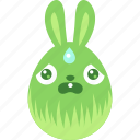 bunny, easter, egg, emoji, emotion, rabbit, scared icon