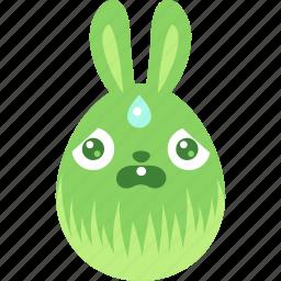 bunny, easter, egg, emoji, emotion, rabbit, scared icon