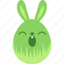 bunny, easter, egg, emoji, emotion, rabbit, sleepy icon